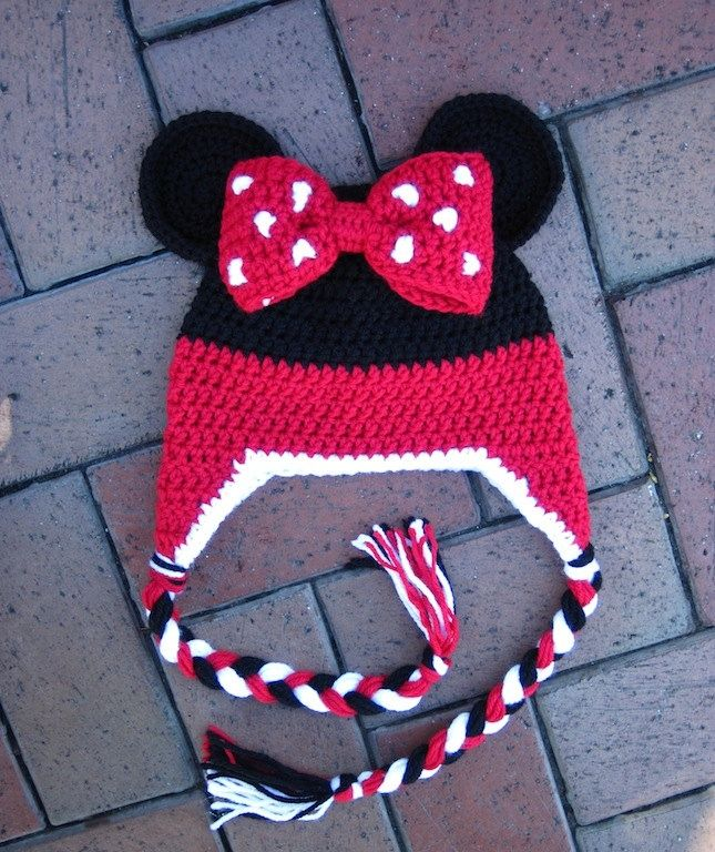 Free Minnie Mouse Crochet Hat Pattern With Ear Flaps : Minnie Mouse Stripe Crochet Beanie PDF Pattern - fun to ...