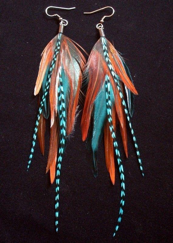 pretty // big feather earrings