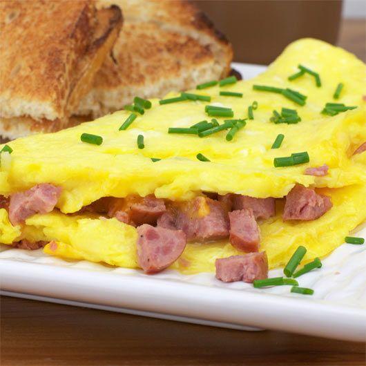 Summer Sausage Cheddar Omelette | Breakfast Recipes | Pinterest