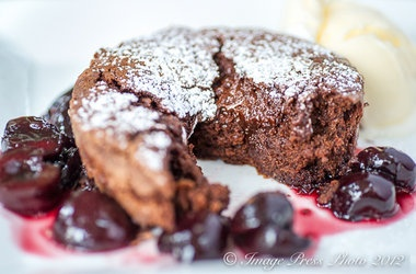 Warm Truffle Cakes with Quick Brandied Cherries | Cakes .... Cakes ...