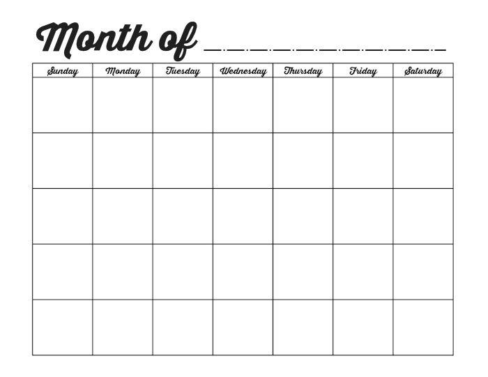 Blank 1 Month Calendar Template – Printable Editable Blank
