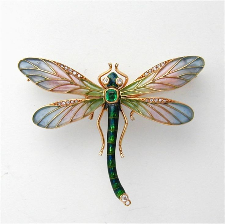 A delicate Art Nouveau enamel, emerald & diamond Dragonfly Brooch!