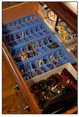 Ice cube trays to organize earrings and jewelry - clever.