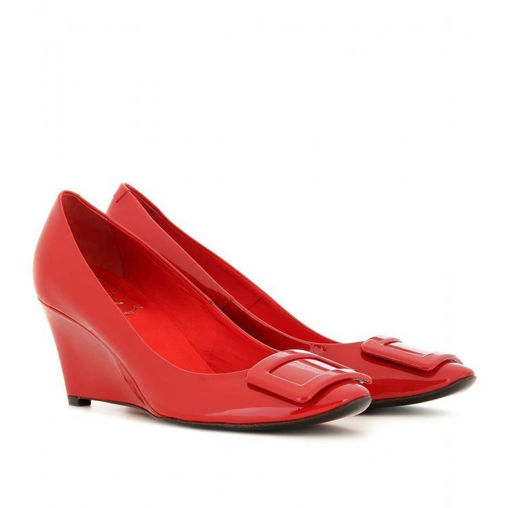 Roger Vivier Pumps Belle De Nuit Patent Leather Wedges Red Shoes