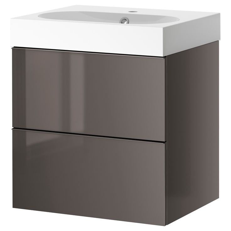 Etagere Expedit Ikea Occasion ~ GODMORGON  BRÅVIKEN Sink cabinet with 2 drawers, gray high gloss