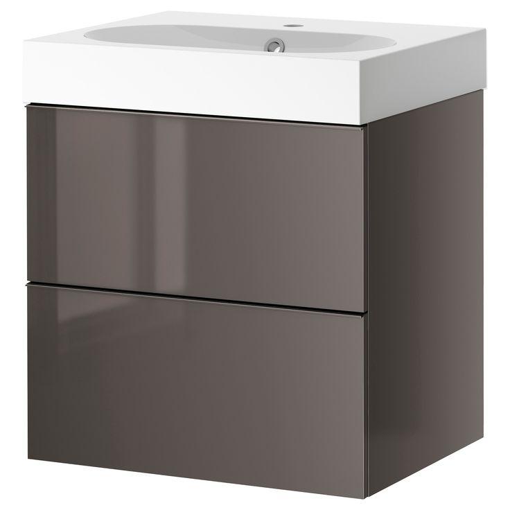 Ikea Kitchen Island Support ~ GODMORGON  BRÅVIKEN Sink cabinet with 2 drawers, gray high gloss
