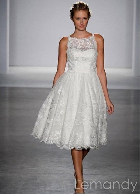 Short ivory princess lace wedding dress knee length for Short ivory lace wedding dress