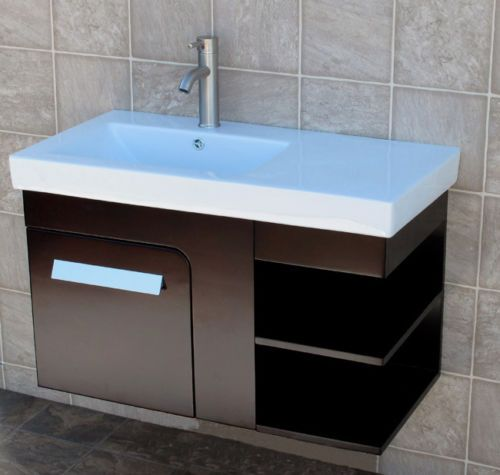 36 bathroom wall mount vanity cabinet ceramic top integrated sink