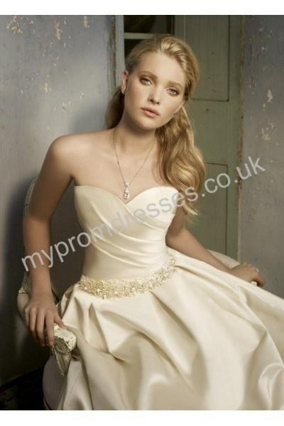 Wedding Dresses Creme Silk Strapless Sweetheart Neckline Floor Length