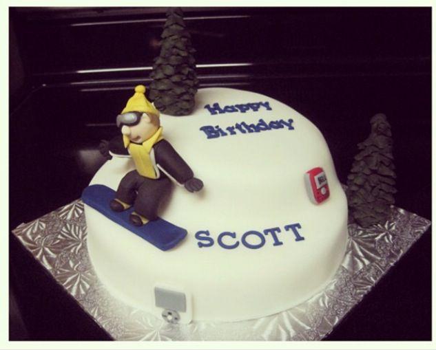 snowboard birthday cake