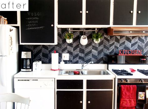 Chalkboard backsplash. I could do this.