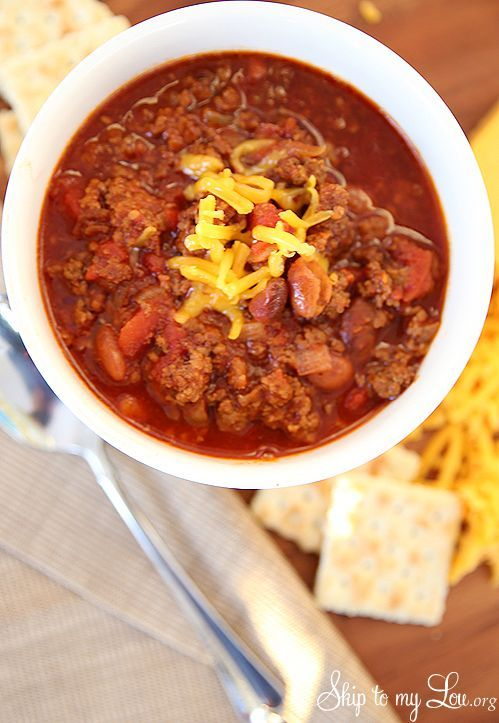 Slow Cooker Chili - Skip To My Lou | crock pot | Pinterest