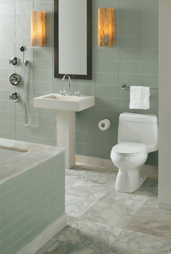 ... tub surround and orlo mirror and pedestal lavatory, marais sconces