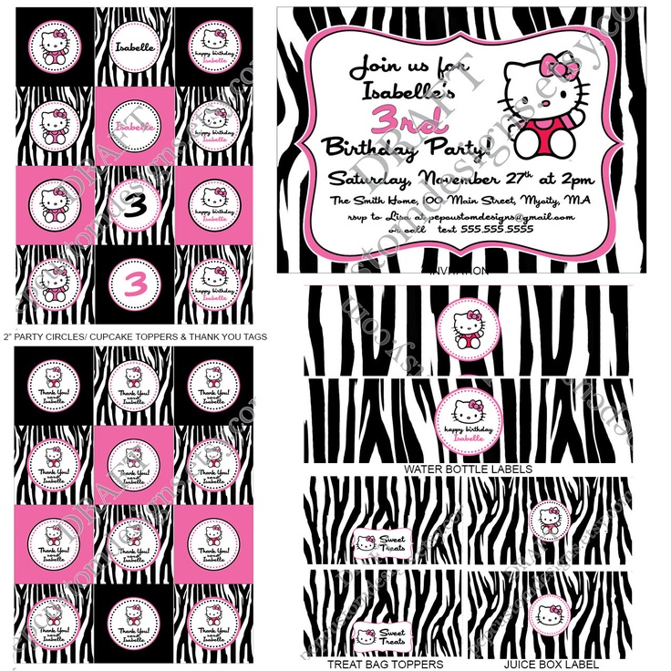 Hello Kitty Zebra Printable Birthday Water Bottle Labels