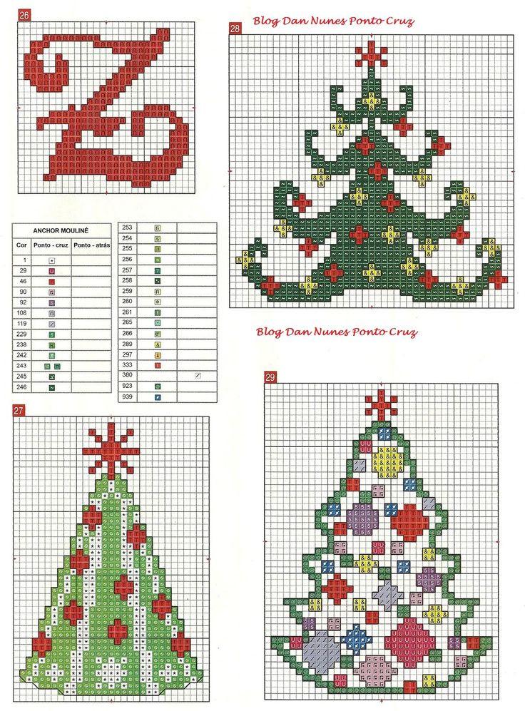 Схемы вышивок новогодних елочек