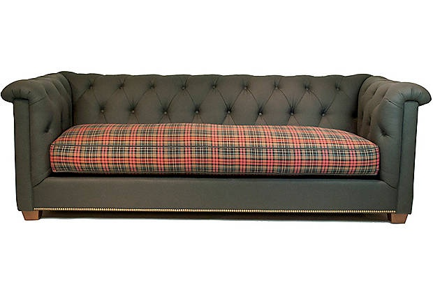trad plaid library sofa. Black Bedroom Furniture Sets. Home Design Ideas