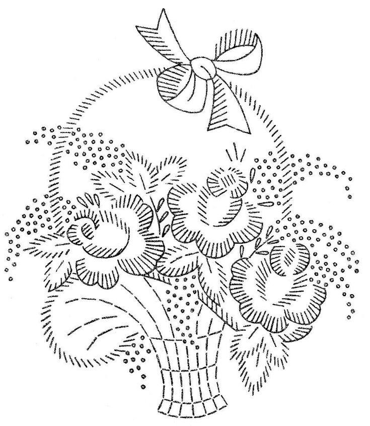 Цветочные корзины Вышивка или Redwork