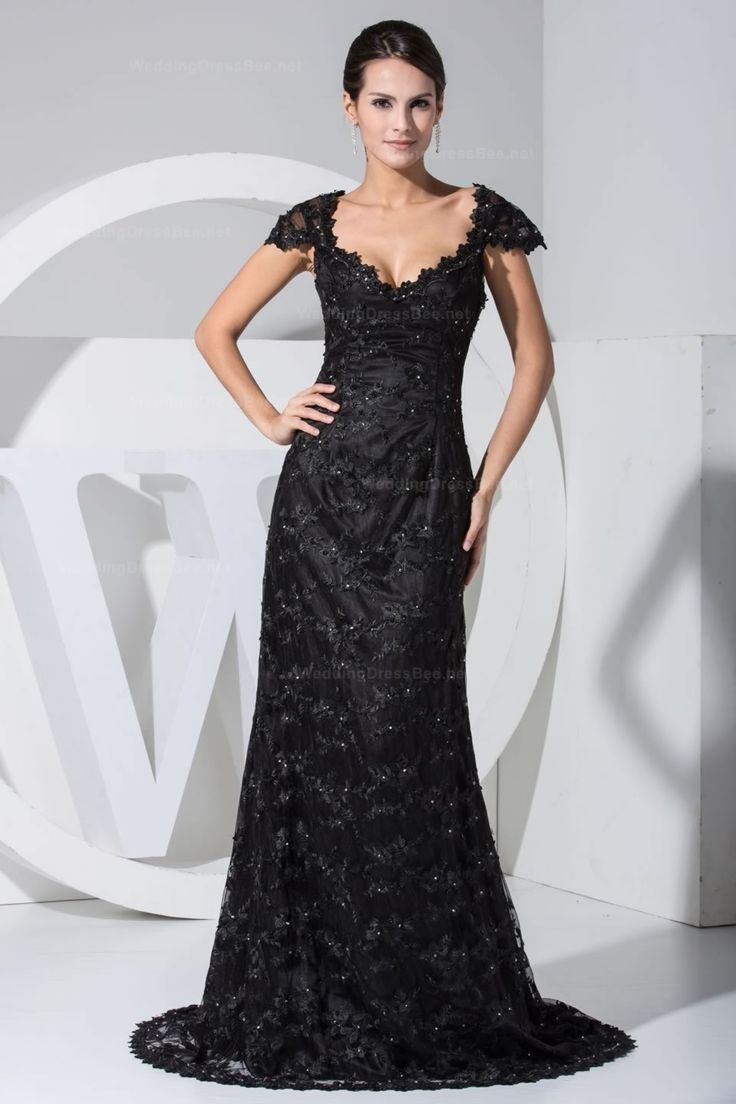 Slim A-line with cap sleeve lace overlay evening dress