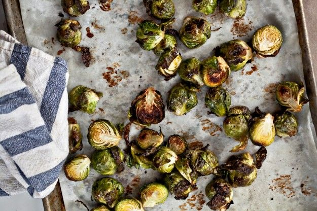 roasted brussels sprouts with white beans and pecorino