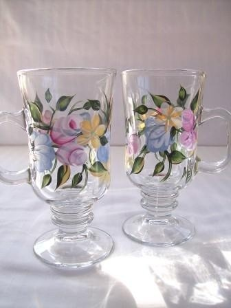 Floral Coffee Mugs by Morningglories1 on Etsy, $20.00