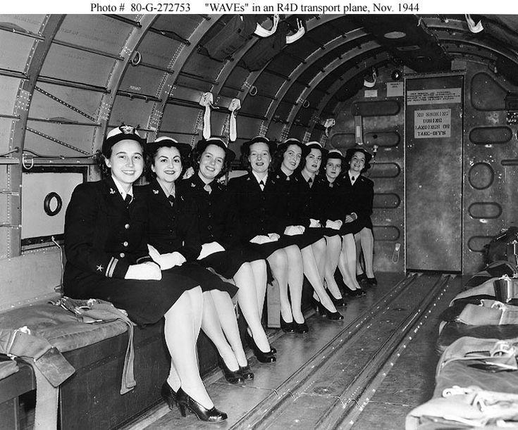 WAVEs in an R4D transport plane, 1944. #vintage #1940s #WW2 #women