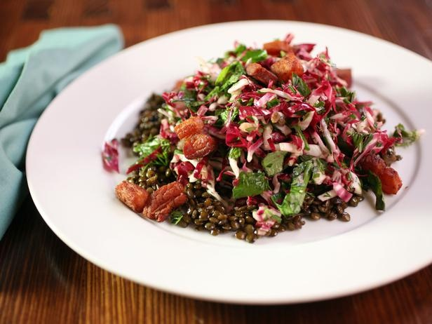 Herb Radicchio Salad With French Lentils -- Lentils, bacon lardons and ...