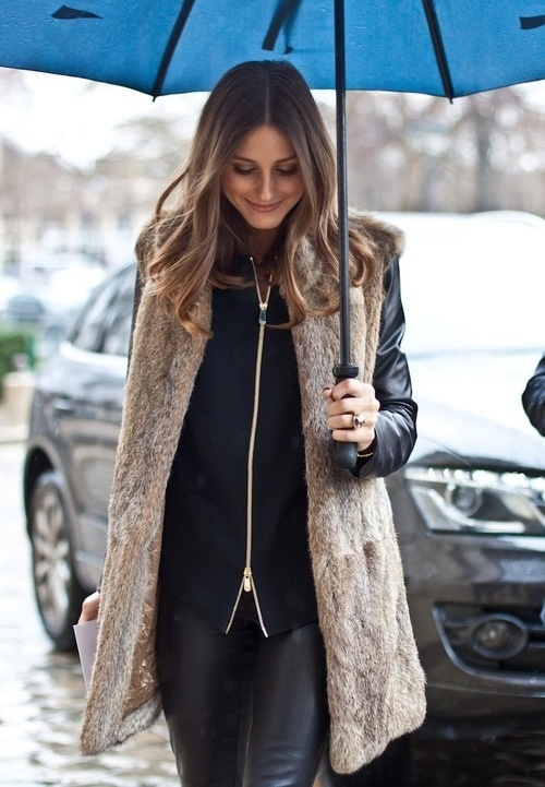 Olivia Palermo in fur. So chic.