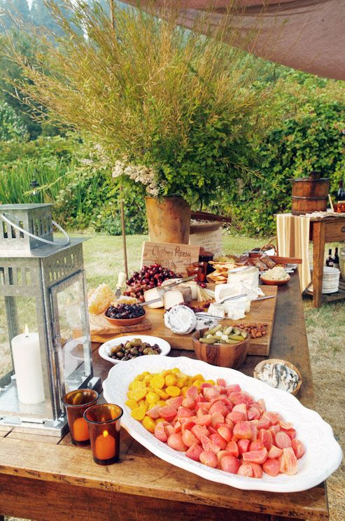 Wedding rehearsal dinner outdoor dinner buffet rustic casual