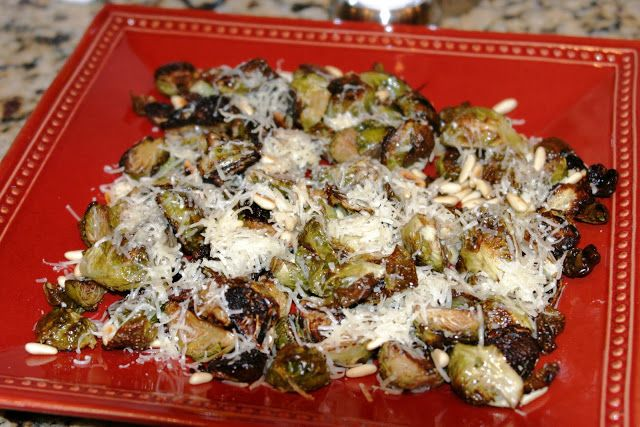 Balsamic Roasted Brussels Sprouts with Pine Nuts and Parmesan