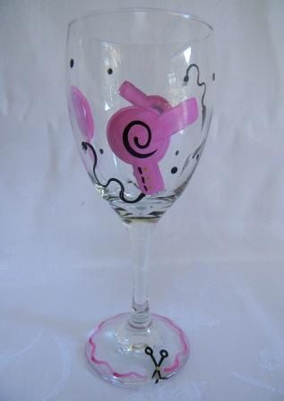 Wine glass for hairdresser by Morningglories1 on Etsy, $16.00