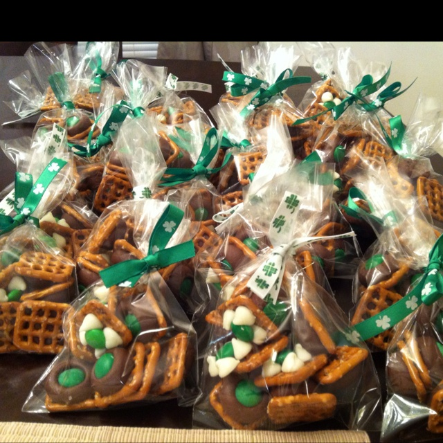 Hershey's Kisses with green M&M's, Nestlé Toll House White Morsel with Green M&M's & Snap Pretzels