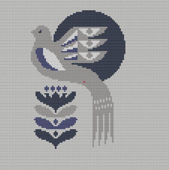 Modern Cross Stitch Pillow : Danish Bird Cross Stitch Pattern PDF Pillow Cover