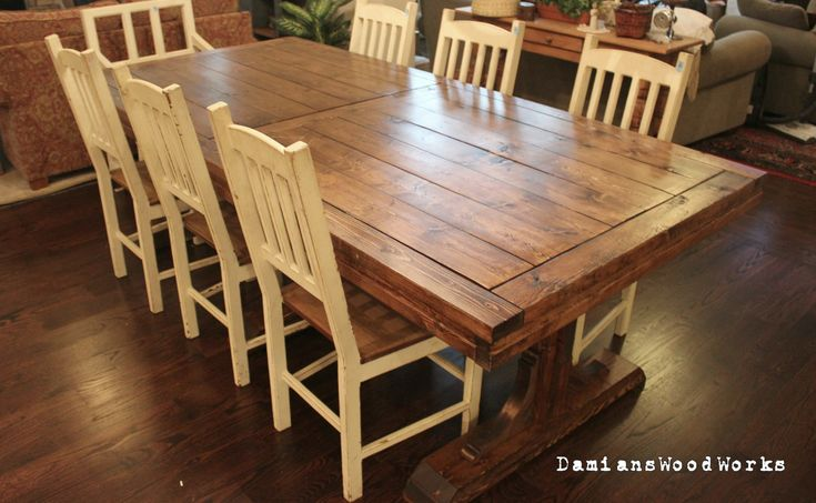 Handcrafted Farmhouse Dining Table Solid Wood 7 ft Triple Pedes…