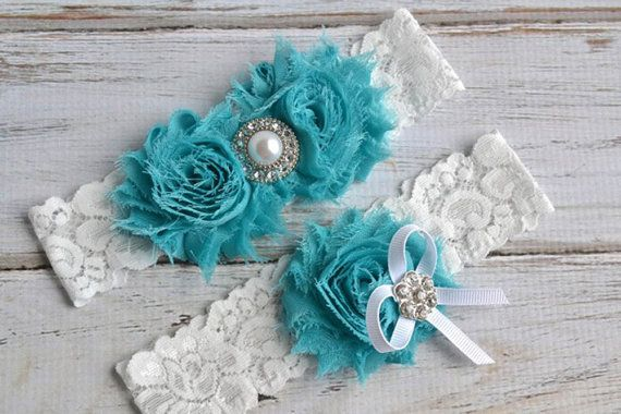 TURQUOISE 29 Different Colors Wedding Bridal Garter Set Keepsake Toss Garder on Etsy, $24.95