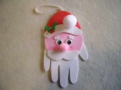 Santa handprint craft   Preschool Christmas craft ideas   Pinterest