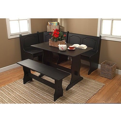 New black 3 piece corner dining table bench breakfast nook kitchen - Corner kitchen table nook ...
