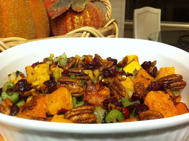 maple roasted butternut squash with cranberries and pecans