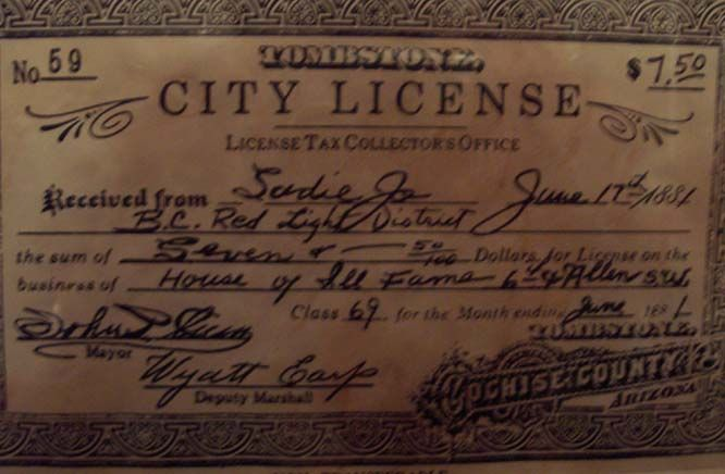 Prostitution license in Tombstone. This 'soiled dove' became Wyatt Earp's common law wife of forty-plus years.