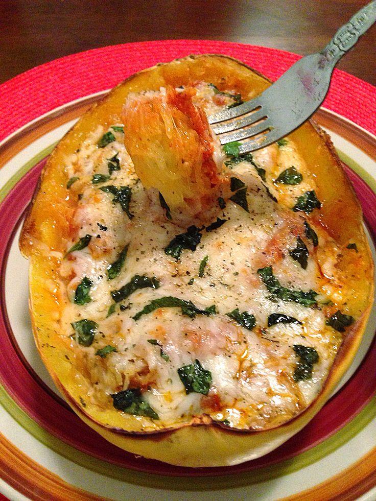Cheesy Baked Spaghetti Squash Boats   savory recipes   Pinterest