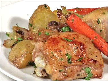 ... pan baked chicken with new potatoes, carrots and caramelized shallots