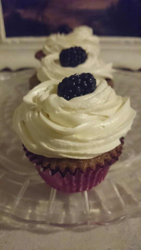 Blueberry Dotted Banana Bread, with cream cheese frosting (A top sits ...