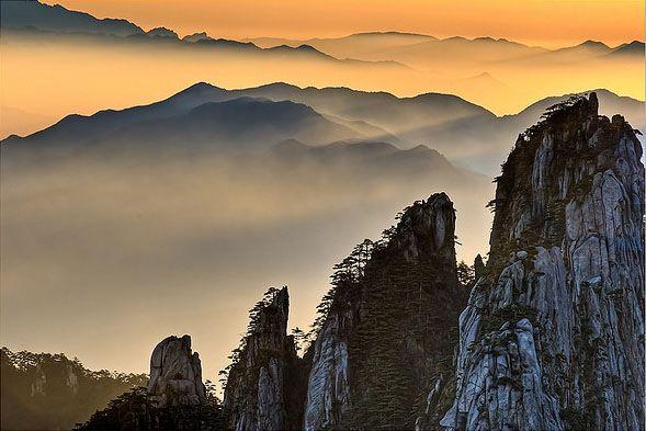 Las Montañas Amarillas de Huangshan en China