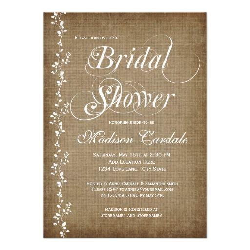 Vintage vines rustic bridal shower invitations for Elegant bridal shower invitations