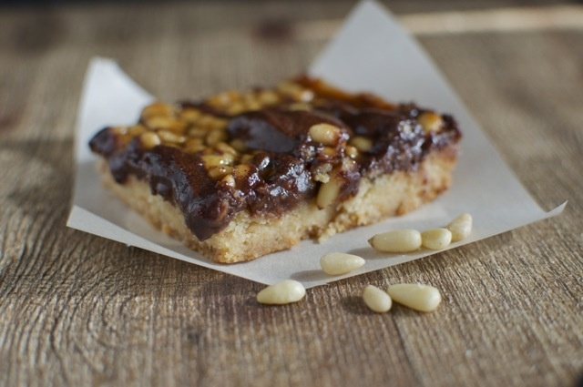 Pine Nut and Chocolate Caramel Bars by @Marly | Namely Marly. #vegan # ...
