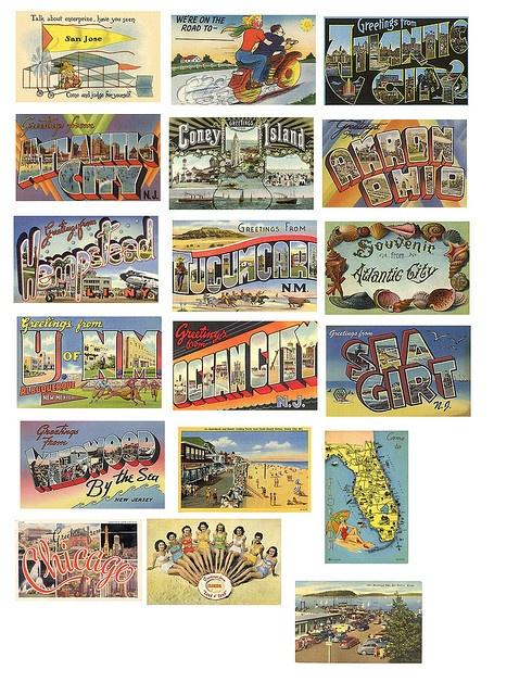 Vintage postcards, free download