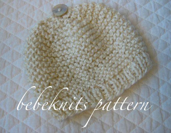 Baby Hat Knitting Pattern Garter Stitch : Bebeknits Garter Stitch Baby Hat Knitting Pattern in 4 SIzes