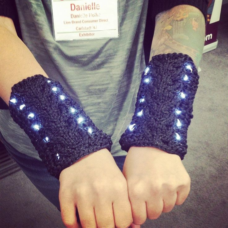 I added LEDs to my wristers! Made with Lion Brand's Martha Stewart Glitter Ribbon and Fairy Moon LEDs ...
