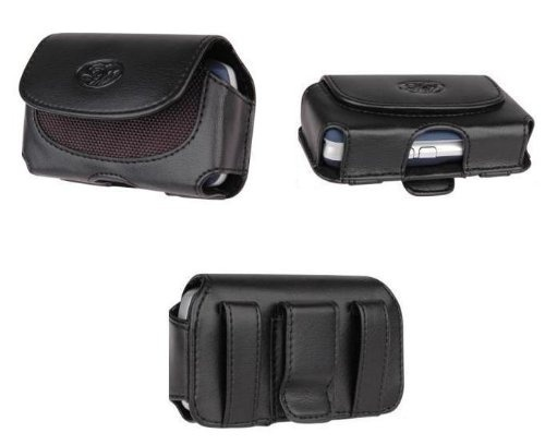 Black Horizontal Leather Pouch For Sidekick LX 2009 Phone Case Cover with Belt Clip Magnetic Closing
