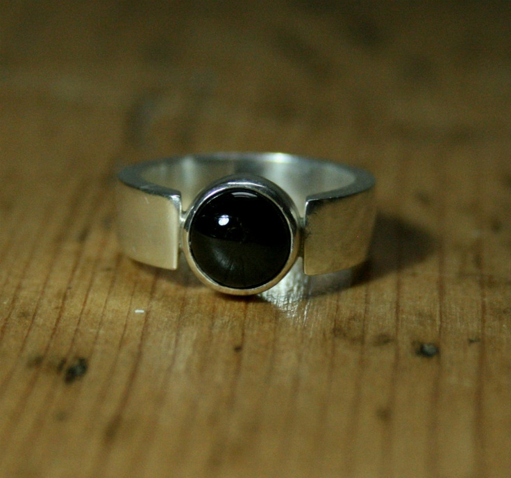 Silver Ring - Diopside - 4-Ray Star - Chunky, Bold, Black, Metalwork, Statement Jewelry, Wide Band. £55.00, via Etsy.