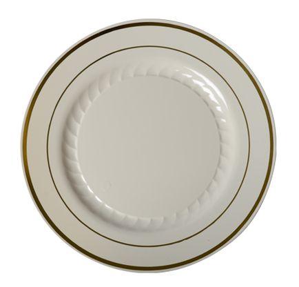 plastic bone with gold trim 9 round dinner plate 120 plates